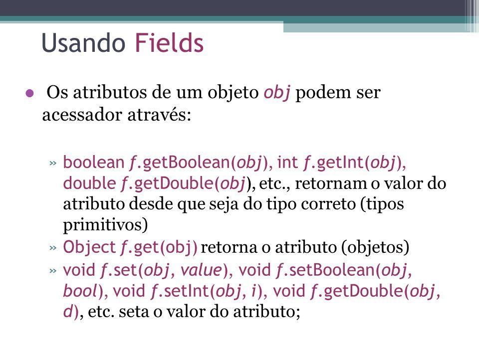 Usando Fields Os atributos de um objeto obj podem ser acessador através: