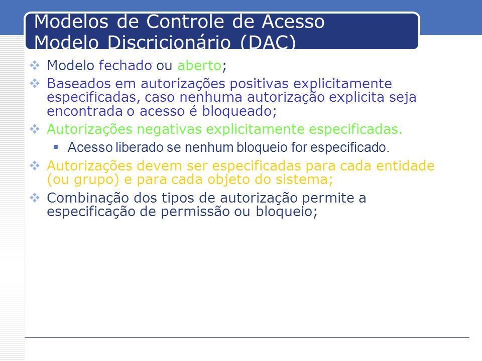Modelos de Controle de Acesso Modelo Discricionário (DAC)