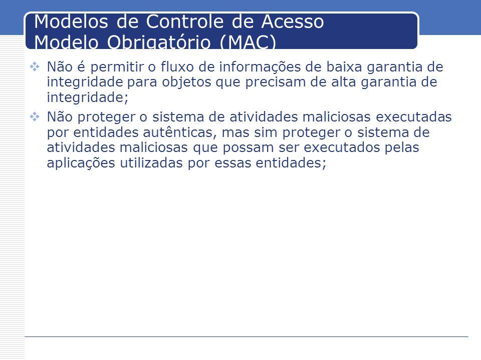 Modelos de Controle de Acesso Modelo Obrigatório (MAC)