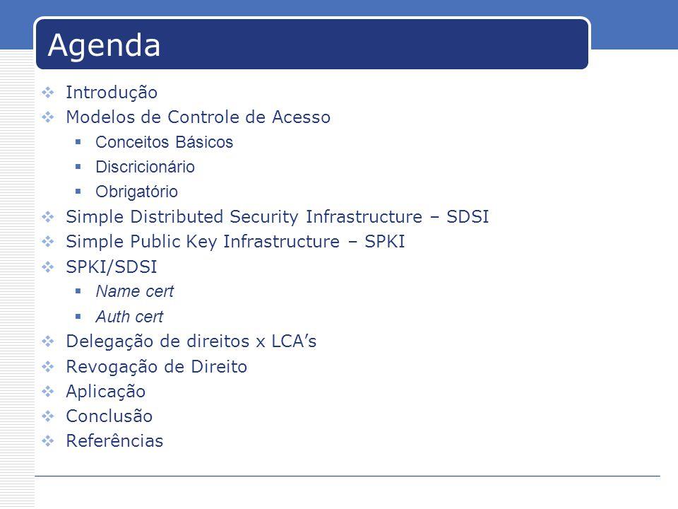 Agenda Introdução Modelos de Controle de Acesso Conceitos Básicos