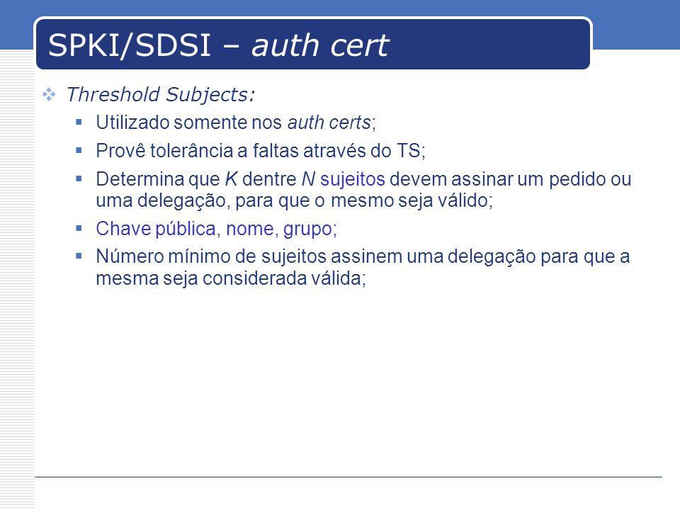 SPKI/SDSI – auth cert Threshold Subjects: