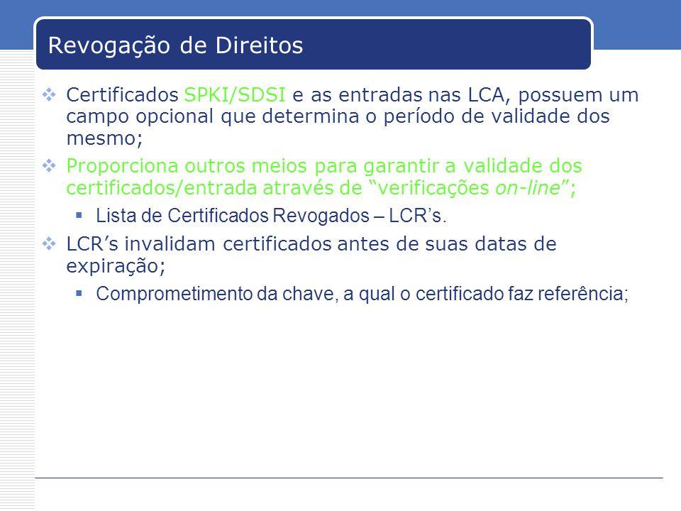 Revogação de Direitos Certificados SPKI/SDSI e as entradas nas LCA, possuem um campo opcional que determina o período de validade dos mesmo;
