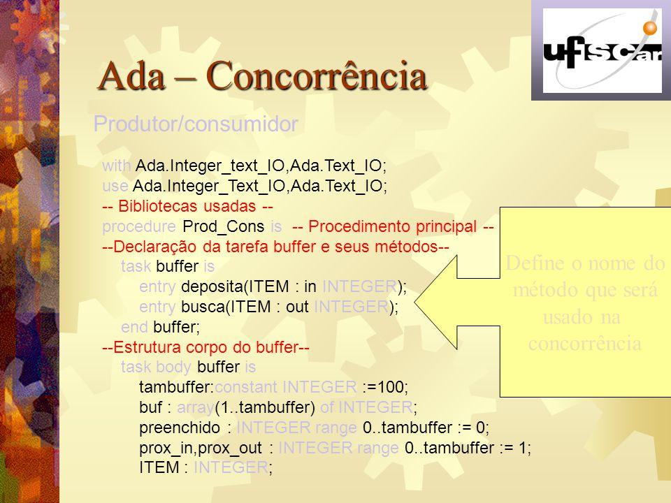 Ada – Concorrência Produtor/consumidor Define o nome do