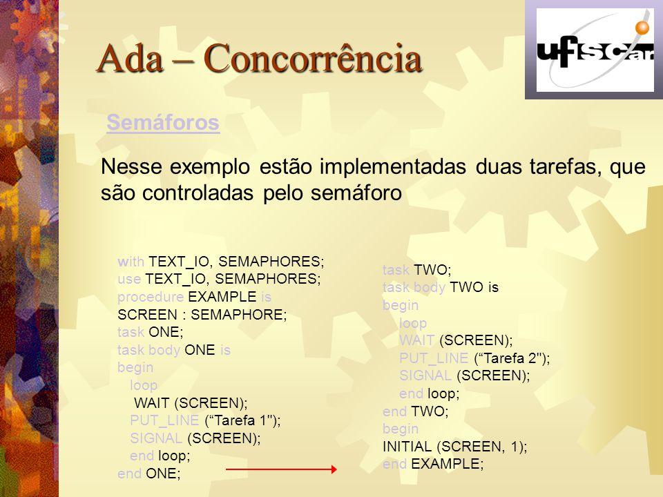 Ada – Concorrência Semáforos