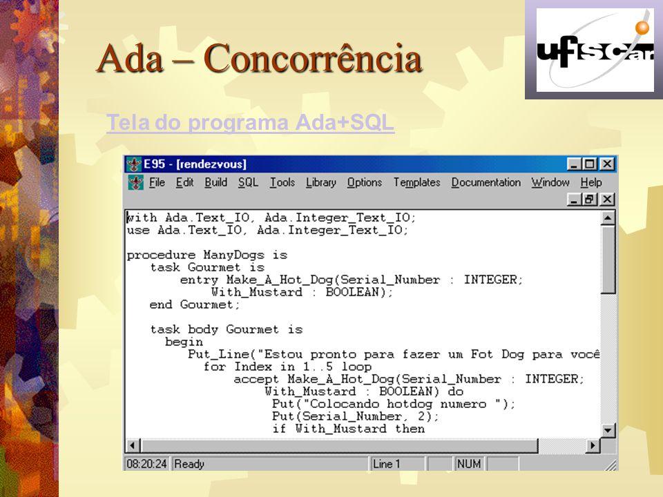 Ada – Concorrência Tela do programa Ada+SQL