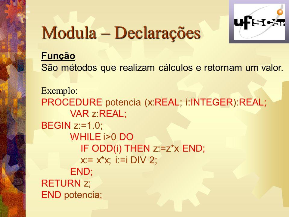 Modula – Declarações Função