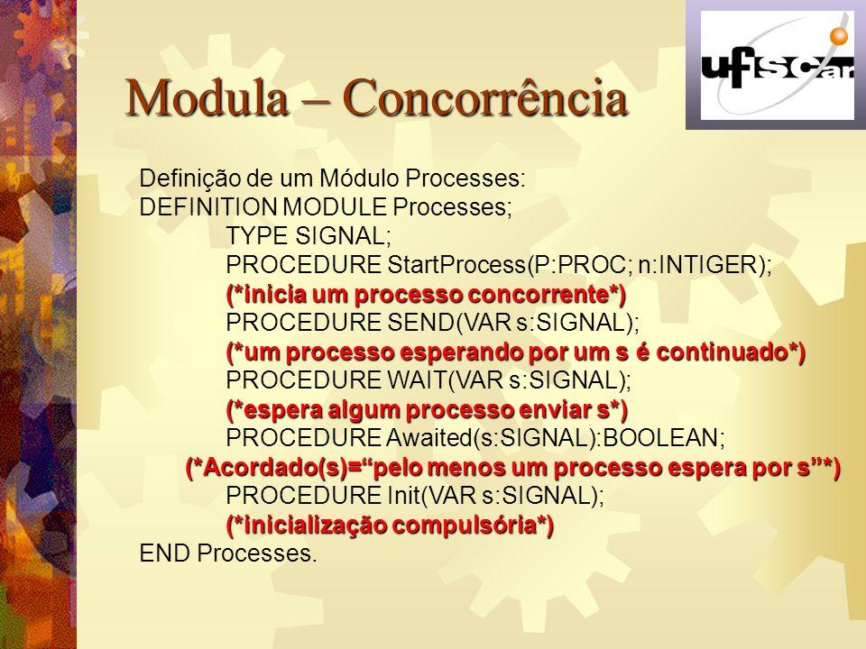 Modula – Concorrência Definição de um Módulo Processes: