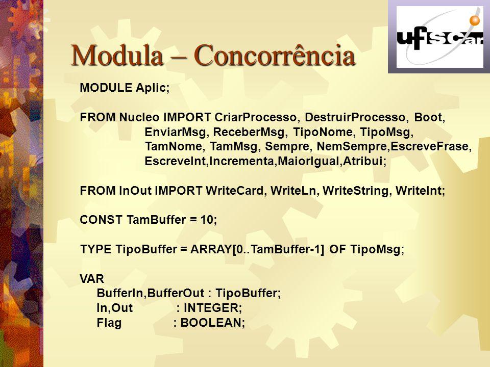 Modula – Concorrência MODULE Aplic;