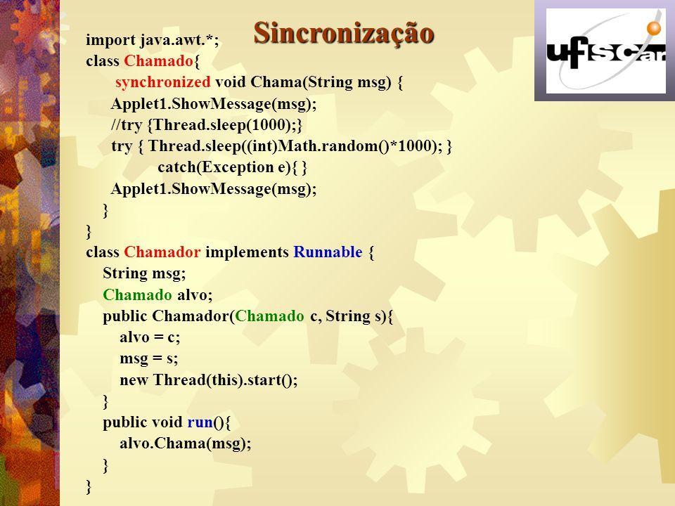 Sincronização import java.awt.*; class Chamado{