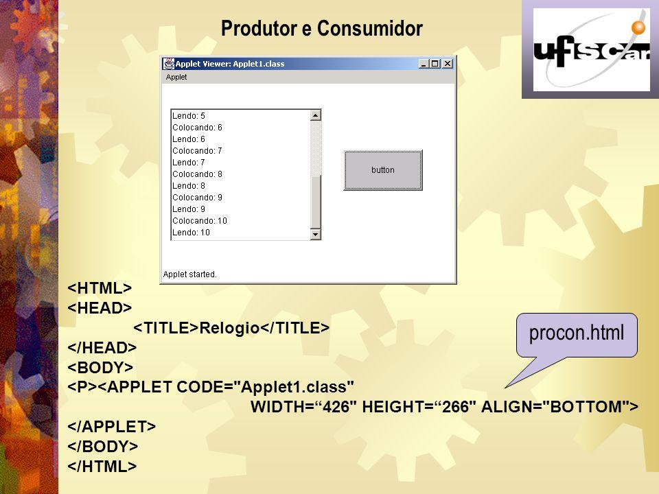 Produtor e Consumidor procon.html <HTML> <HEAD>