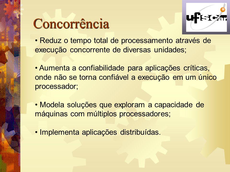 Concorrência Reduz o tempo total de processamento através de execução concorrente de diversas unidades;