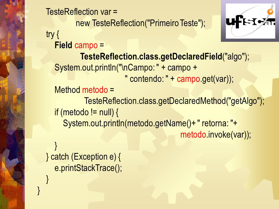 TesteReflection var = new TesteReflection( Primeiro Teste ); try { Field campo = TesteReflection.class.getDeclaredField( algo );