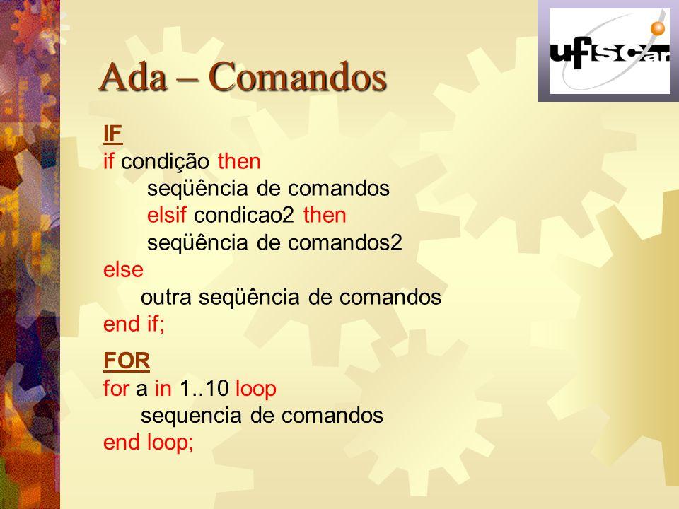 Ada – Comandos IF if condição then seqüência de comandos