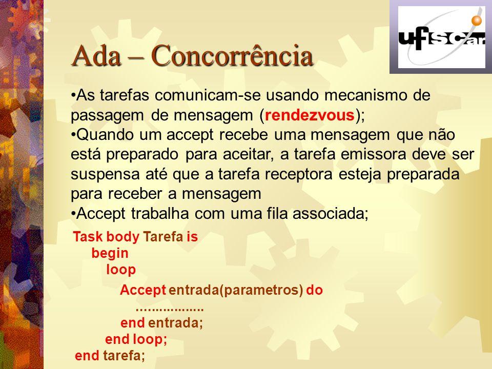 Ada – Concorrência As tarefas comunicam-se usando mecanismo de passagem de mensagem (rendezvous);