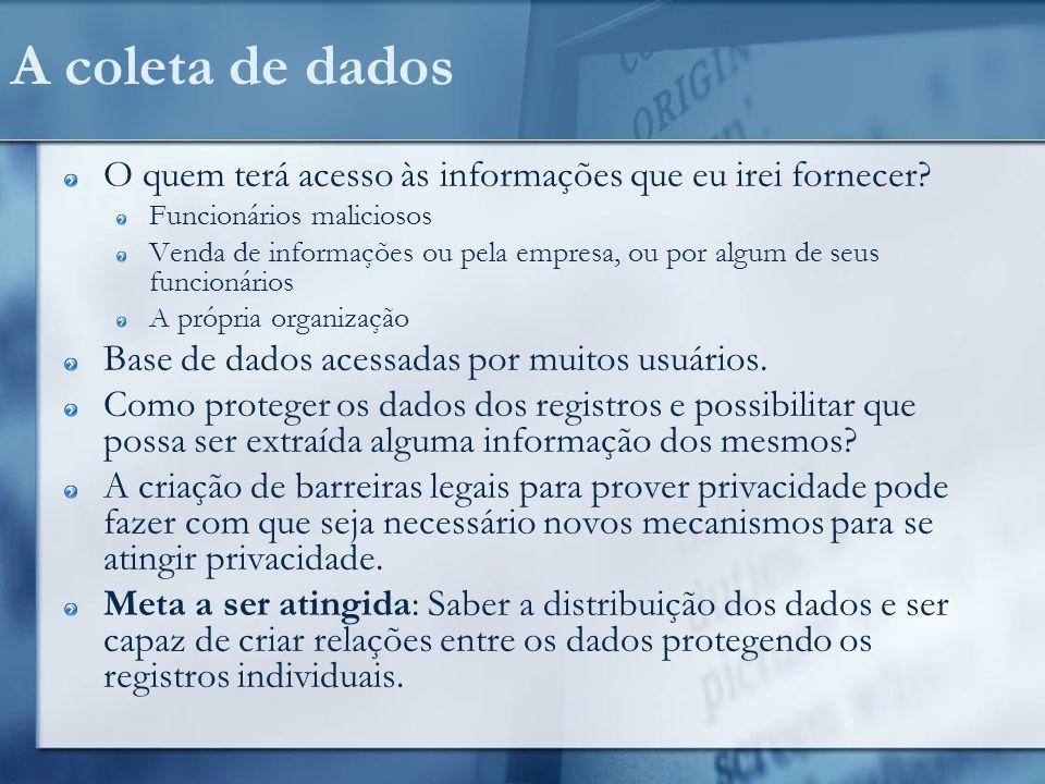 A coleta de dados O quem terá acesso às informações que eu irei fornecer Funcionários maliciosos.