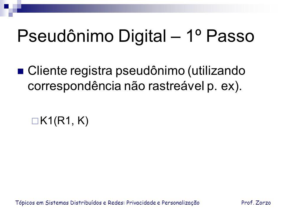 Pseudônimo Digital – 1º Passo