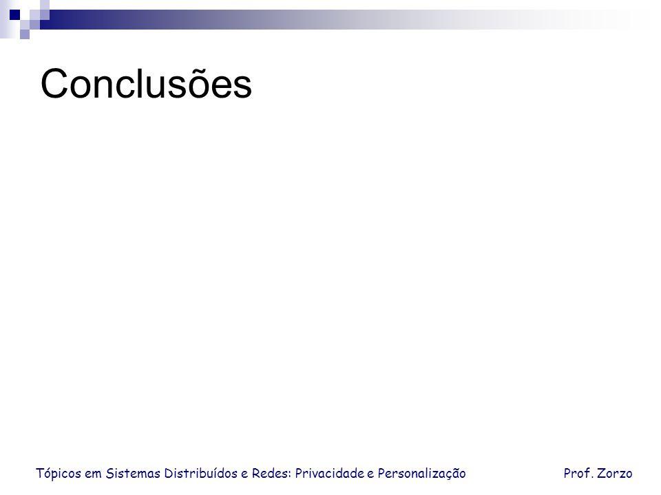 Conclusões Tópicos em Sistemas Distribuídos e Redes: Privacidade e Personalização Prof. Zorzo