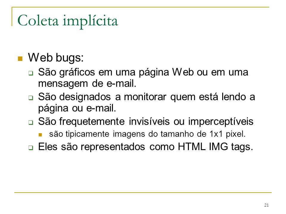 Coleta implícita Web bugs: