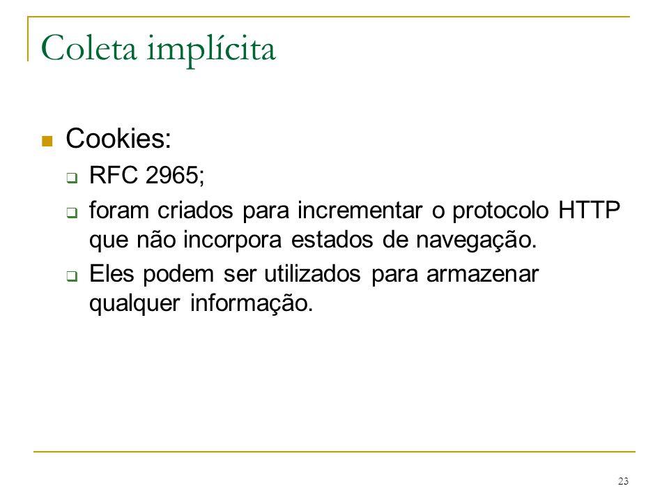 Coleta implícita Cookies: RFC 2965;