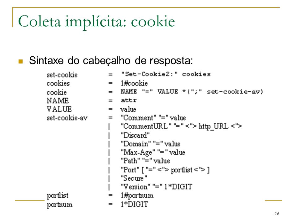 Coleta implícita: cookie