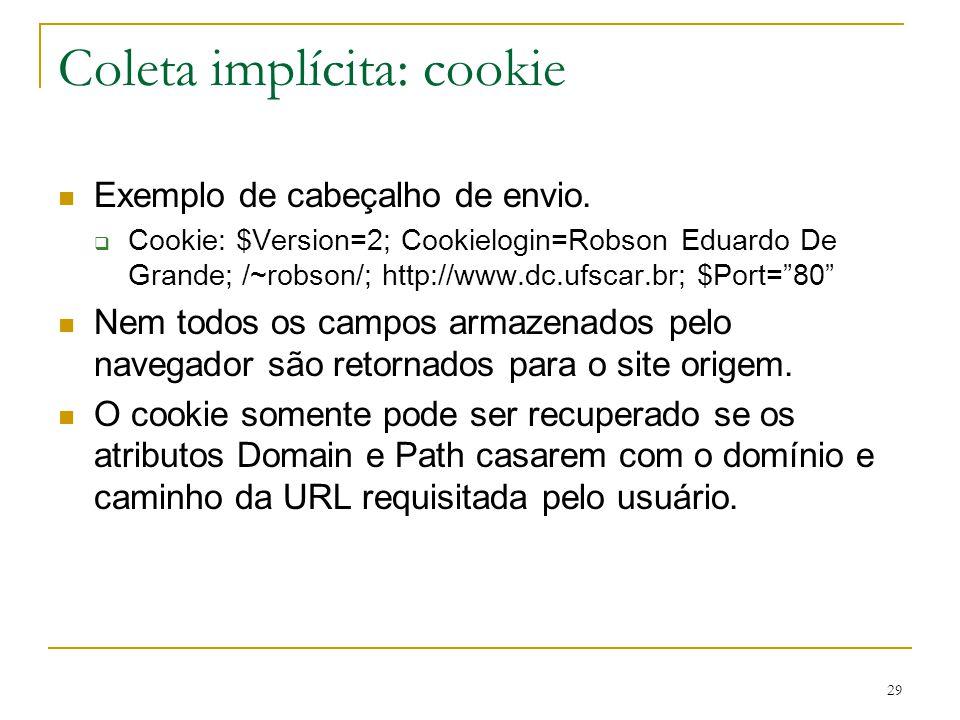 Coleta implícita: cookie