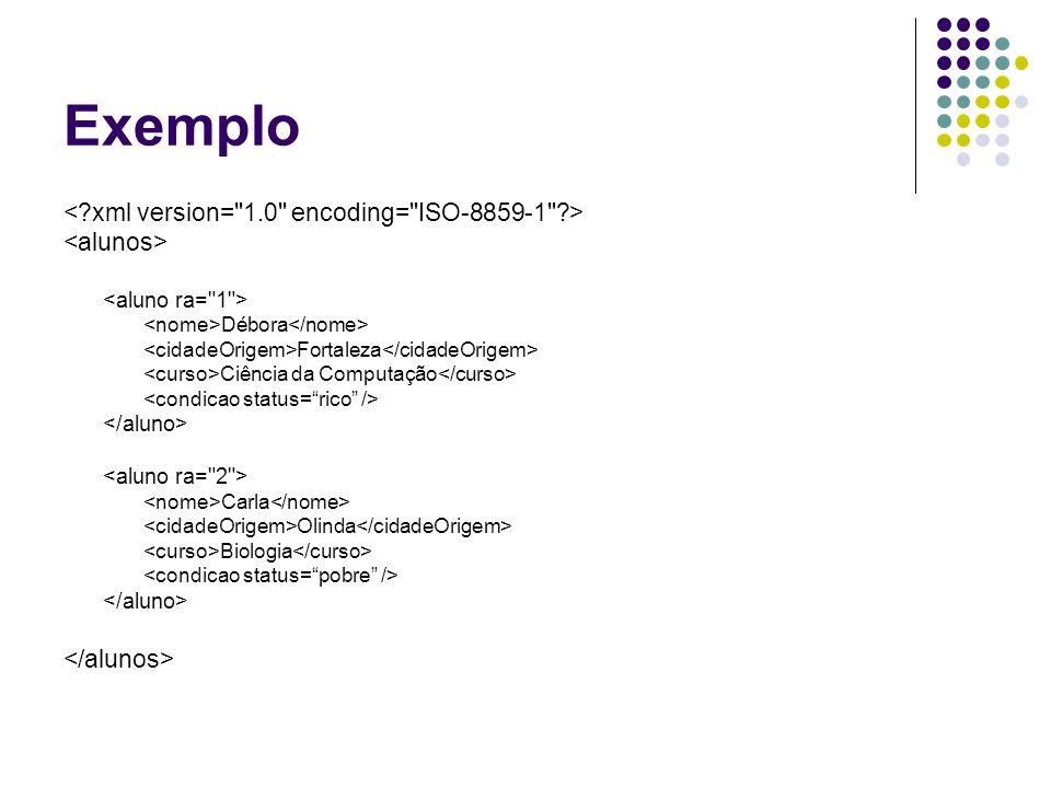 Exemplo < xml version= 1.0 encoding= ISO-8859-1 >