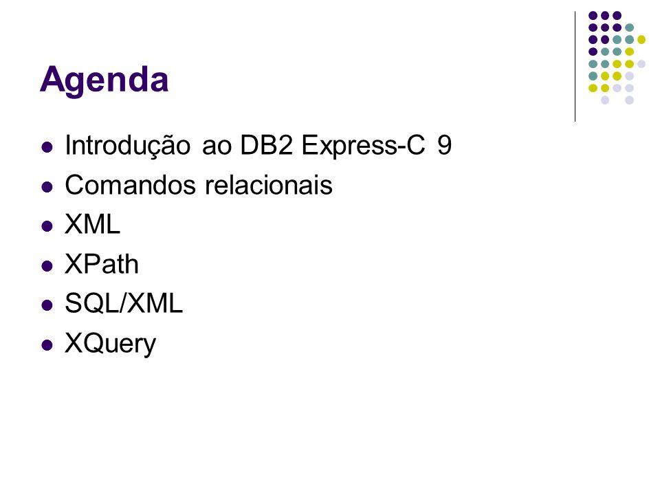 Agenda Introdução ao DB2 Express-C 9 Comandos relacionais XML XPath