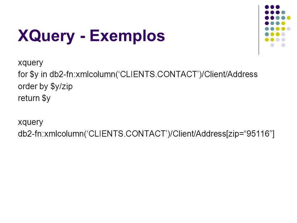XQuery - Exemplos xquery