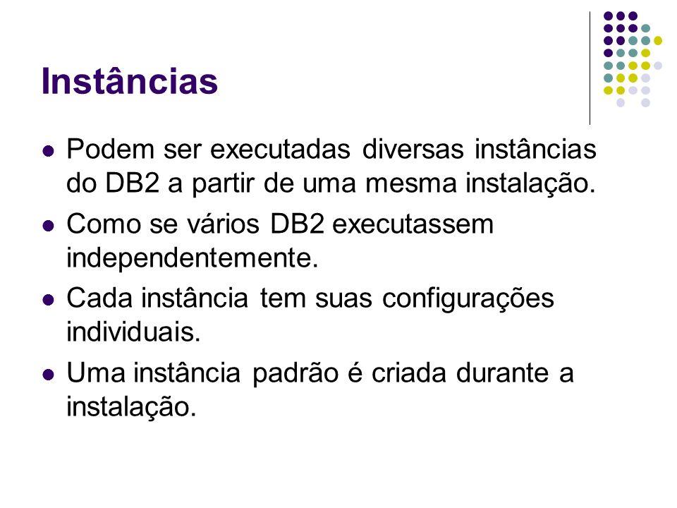 Instâncias Podem ser executadas diversas instâncias do DB2 a partir de uma mesma instalação. Como se vários DB2 executassem independentemente.