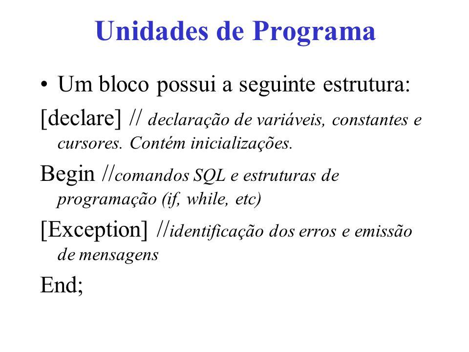 Unidades de Programa Um bloco possui a seguinte estrutura: