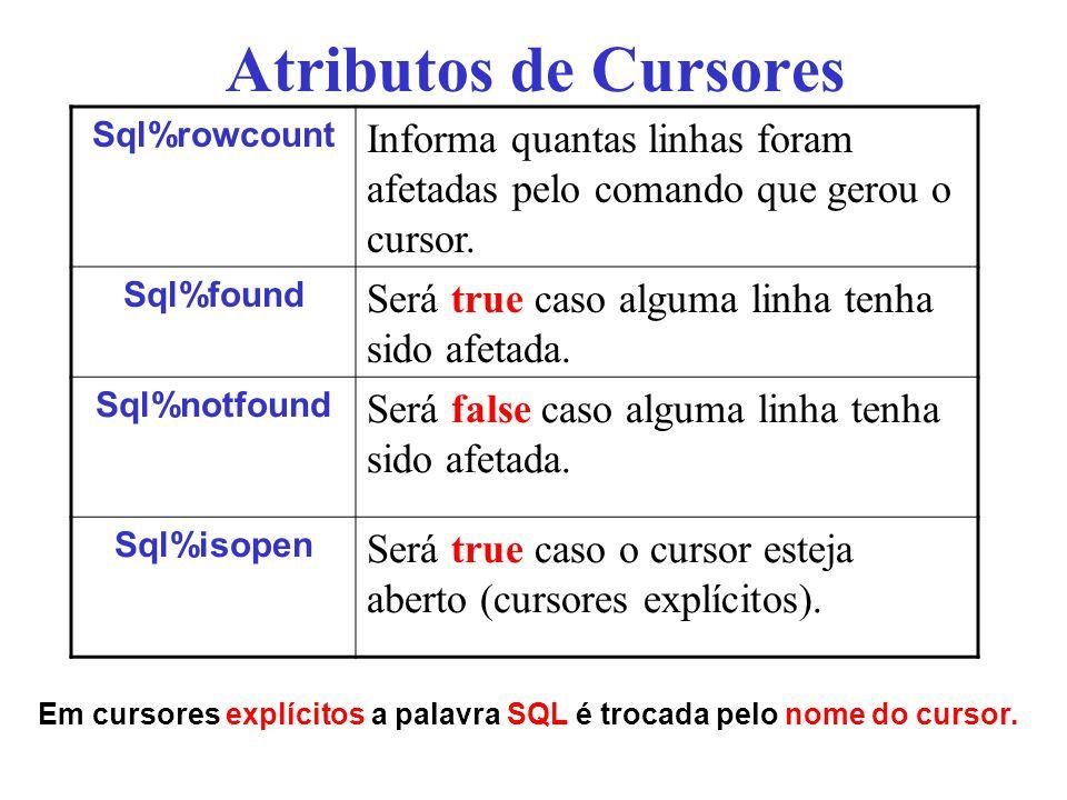 Atributos de Cursores Sql%rowcount. Informa quantas linhas foram afetadas pelo comando que gerou o cursor.