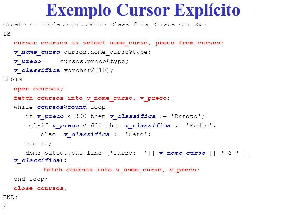 Exemplo Cursor Explícito