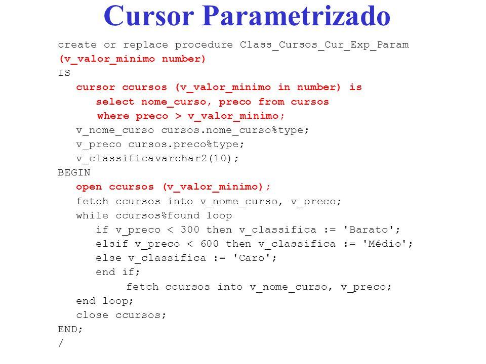 Cursor Parametrizado create or replace procedure Class_Cursos_Cur_Exp_Param. (v_valor_minimo number)