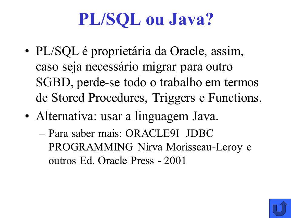 PL/SQL ou Java