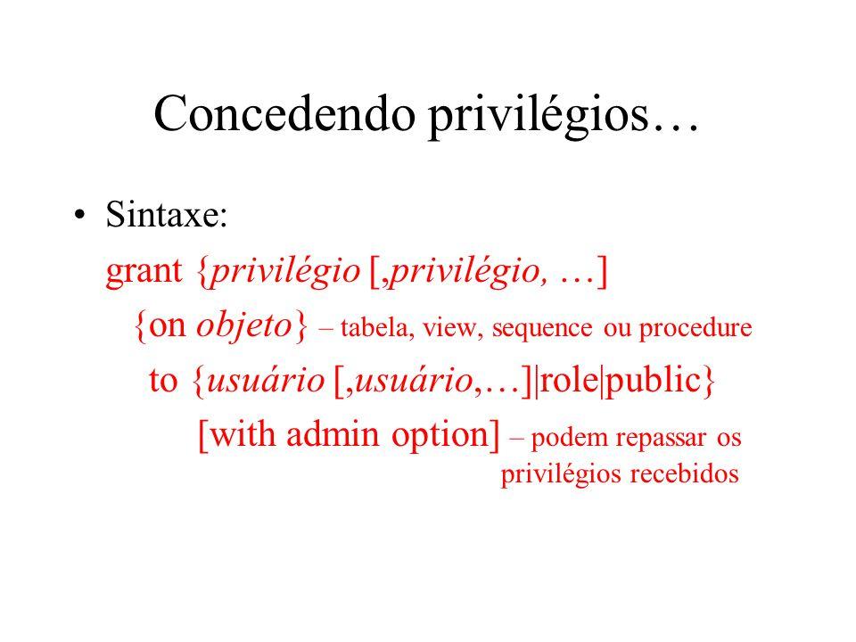 Concedendo privilégios…