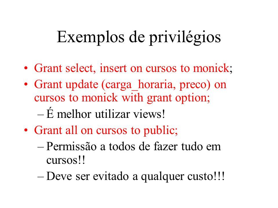 Exemplos de privilégios