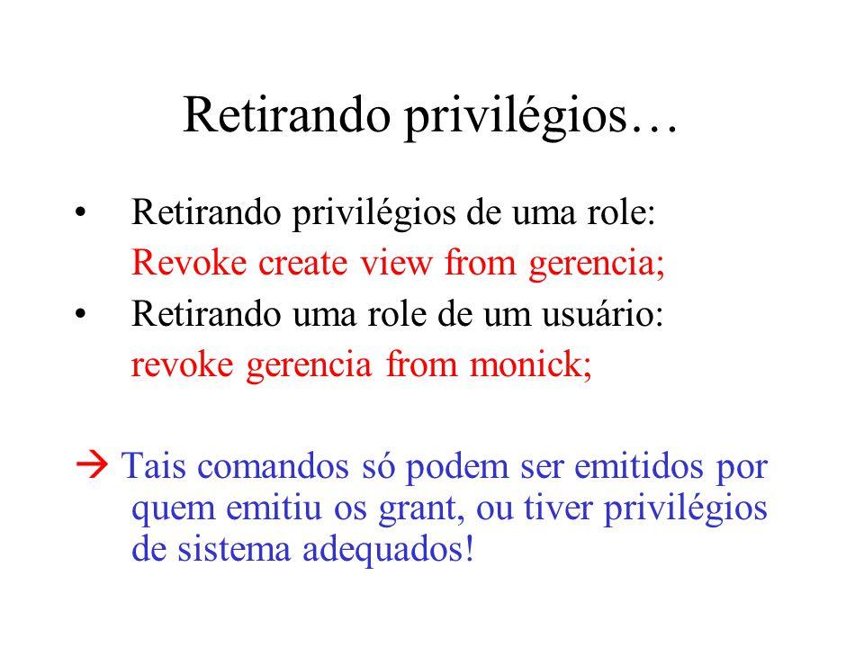 Retirando privilégios…