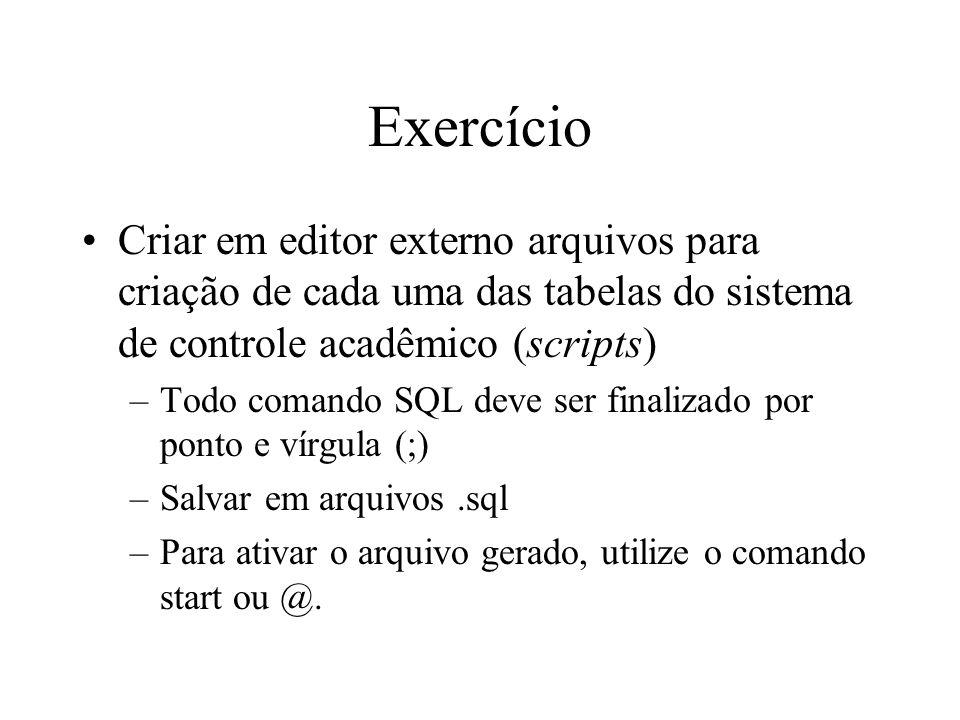 Exercício Criar em editor externo arquivos para criação de cada uma das tabelas do sistema de controle acadêmico (scripts)