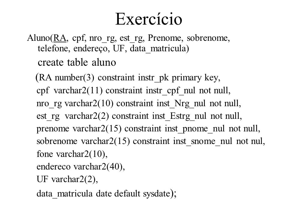 Exercício create table aluno