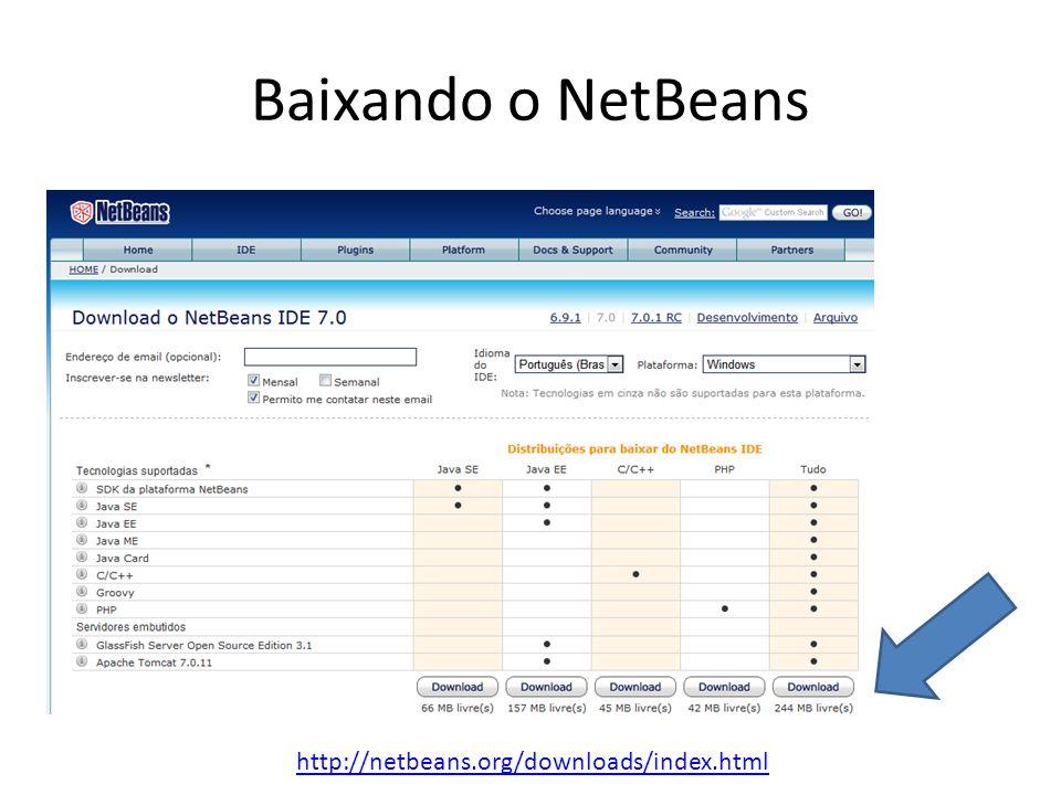 Baixando o NetBeans http://netbeans.org/downloads/index.html