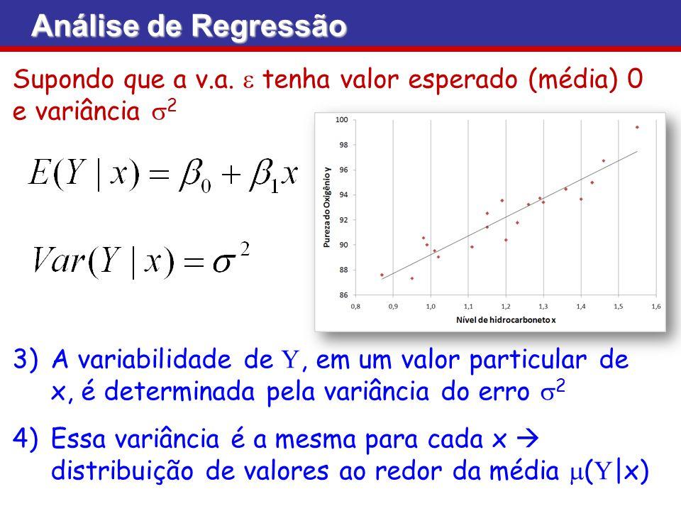 Análise de Regressão Supondo que a v.a. e tenha valor esperado (média) 0 e variância s2.