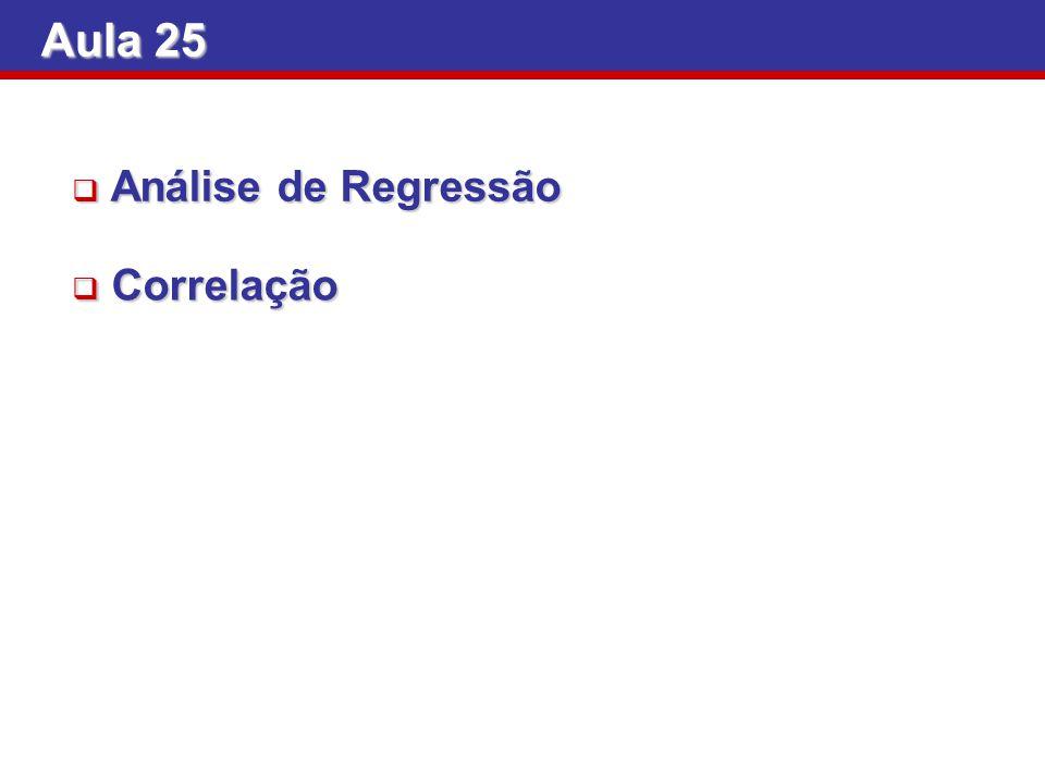 Aula 25 Análise de Regressão Correlação