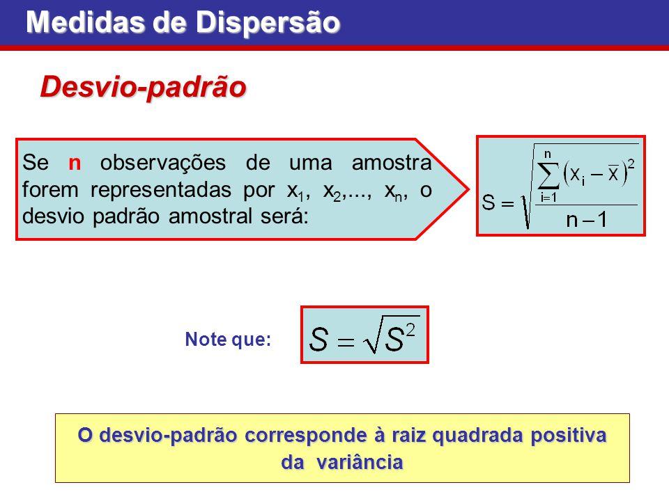 O desvio-padrão corresponde à raiz quadrada positiva