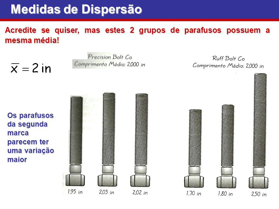Medidas de Dispersão Acredite se quiser, mas estes 2 grupos de parafusos possuem a mesma média!