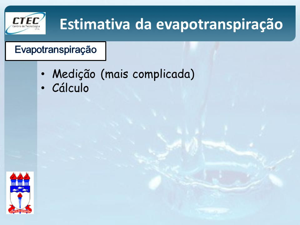Estimativa da evapotranspiração