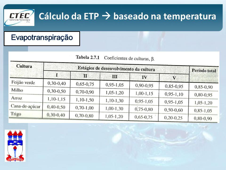 Cálculo da ETP  baseado na temperatura
