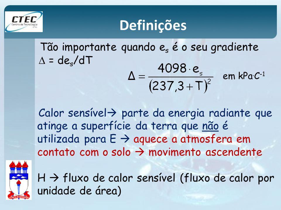 Definições Tão importante quando es é o seu gradiente D = des/dT