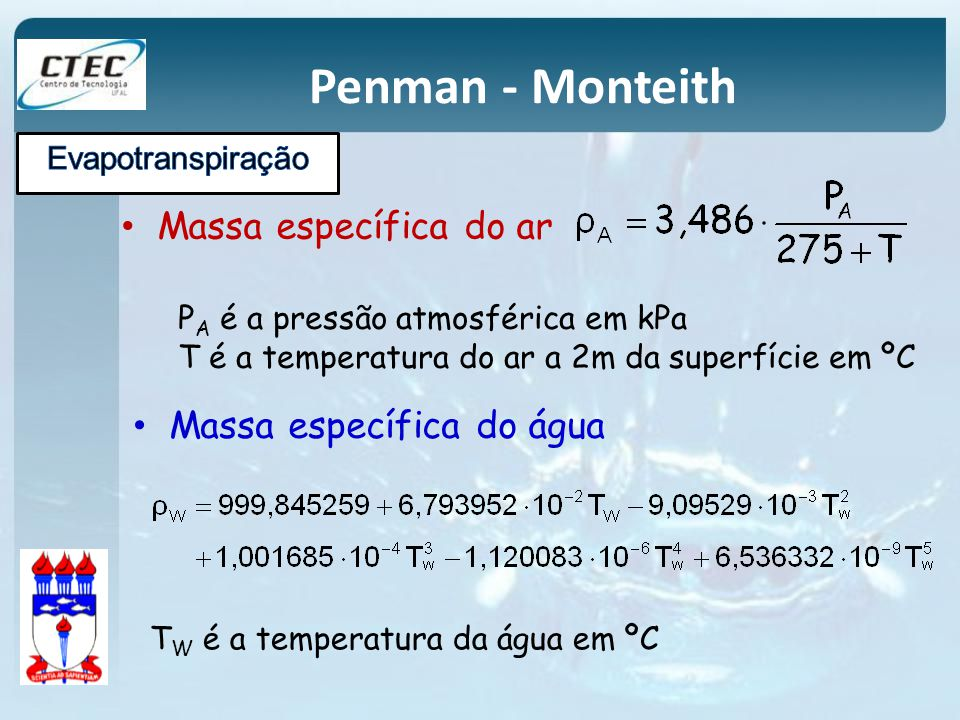 Penman - Monteith Massa específica do ar Massa específica do água