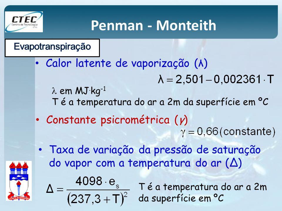 Penman - Monteith Calor latente de vaporização (λ)