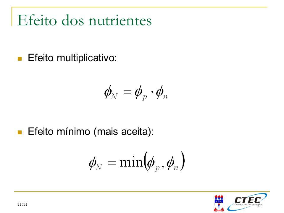 Efeito dos nutrientes Efeito multiplicativo: